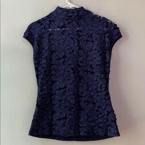 GRACIA Navy 3D Floral Applique Mock-Neck Top